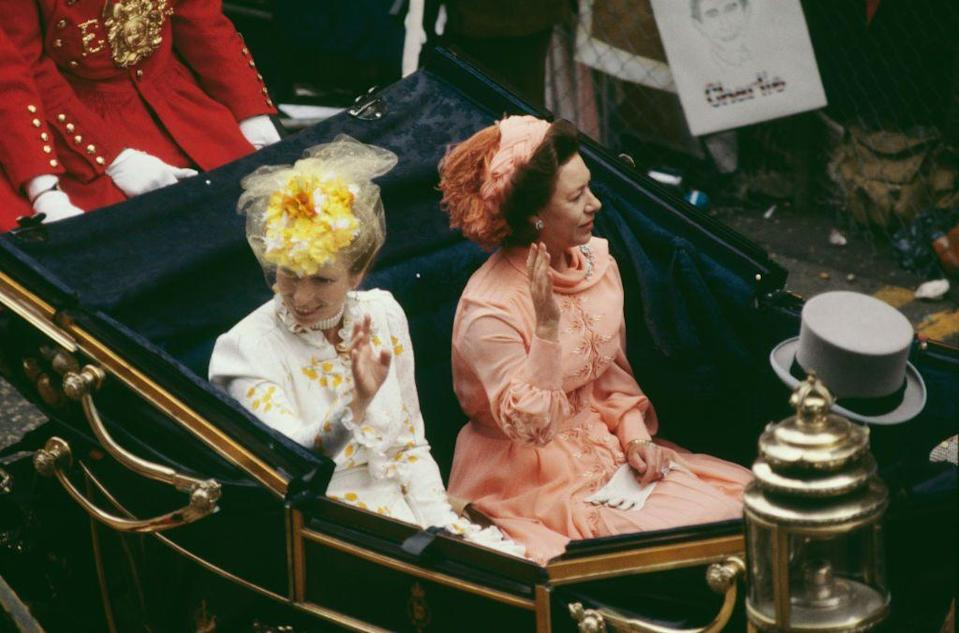 <p>Two of the most stylish royals, Princess Anne and Princess Margaret, arrived first and did not disappoint. Those colors! Those coordinating fascinators!</p>