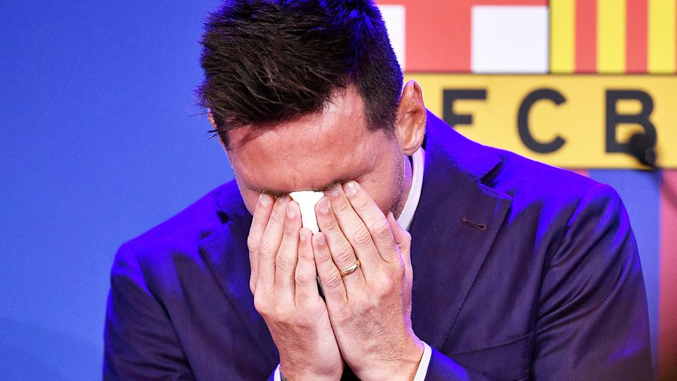 Lionel Messi, pictured here in tears talking about his departure from Barcelona.
