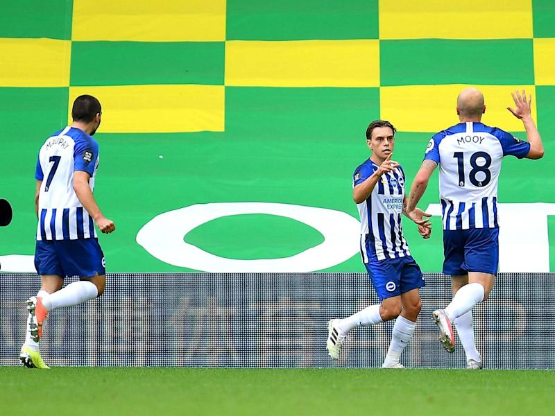Leondro Trossard celebrates after putting Brighton in front of Norwich: Getty