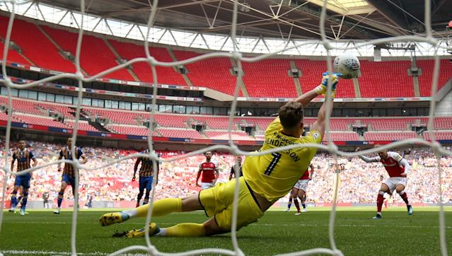 "Soccer Football - League One Play-Off Final - Rotherham United v Shrewsbury Town - Wembley Stadium, London, Britain - May 27, 2018 Rotherham's David Ball has a penalty saved by Shrewsbury Town's Dean Henderson Action Images/Jason Cairnduff EDITORIAL USE ONLY. No use with unauthorized audio, video, data, fixture lists, club/league logos or ""live"" services. Online in-match use limited to 75 images, no video emulation. No use in betting, games or single club/league/player publications. Please contact your account representative for further details."