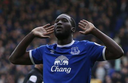 Everton's Romelu Lukaku celebrates scoring their third goal