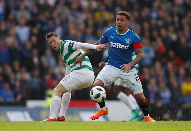 Soccer Football - Scottish Cup Semi Final - Celtic vs Rangers - Hampden Park, Glasgow, Britain - April 15, 2018 Rangers' James Tavernier in action with Celtic's Callum McGregor Action Images via Reuters/Lee Smith