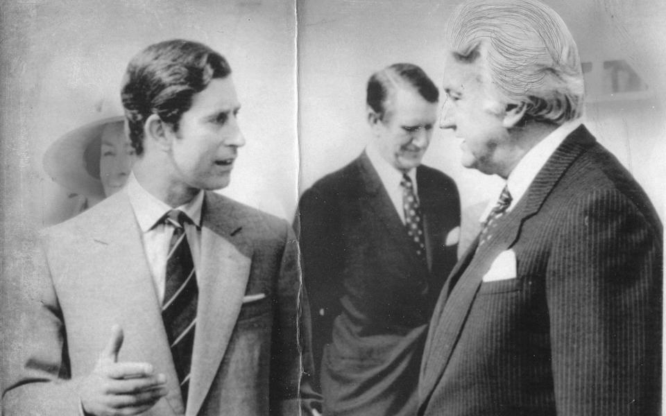 Prince Charles is welcomed to Canberra by Sir John Kerr in 1977 - AP