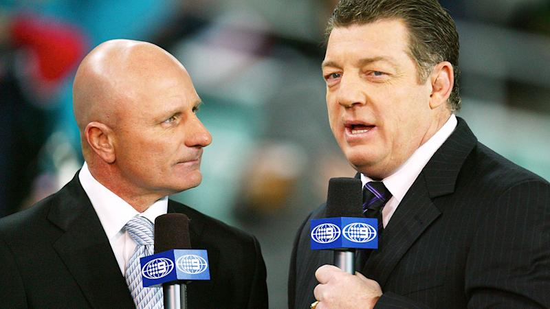 Pictured here, Channel Nine rugby league commentators Peter Sterling and Phil Gould.