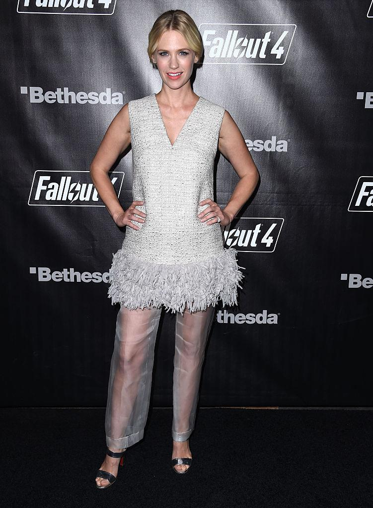 <p>January Jones wears sheer pants on the red carpet for the Fallout 4 video game in November 2015. (Photo: Getty Images) </p>