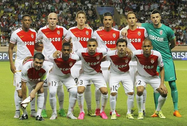 Monaco players pose prior to the UEFA Champions League playoff football match between AS Monaco FC vs Valencia CF, at the Louis II Stadium, in Monaco, on August 25, 2015