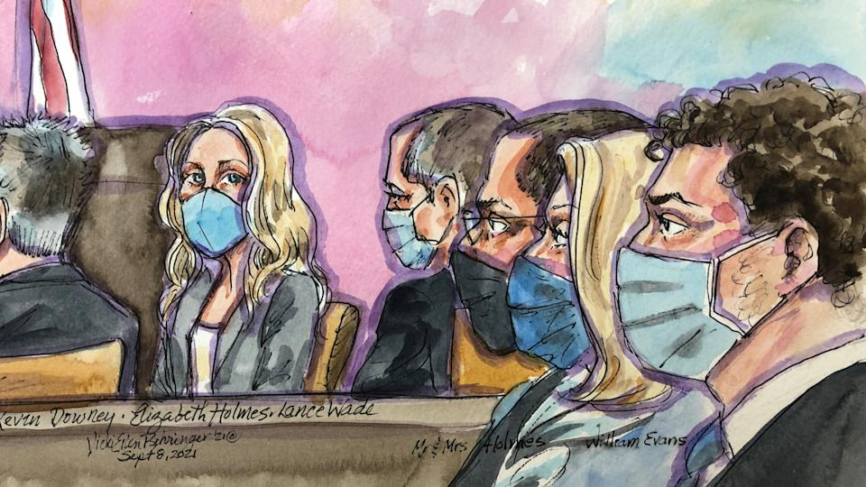 Theranos founder Elizabeth Holmes appears at Robert F. Peckham U.S. Courthouse for opening arguments in her trial, in San Jose, California, U.S., September 8, 2021 in this courtroom sketch.  REUTERS/Vicki Behringer