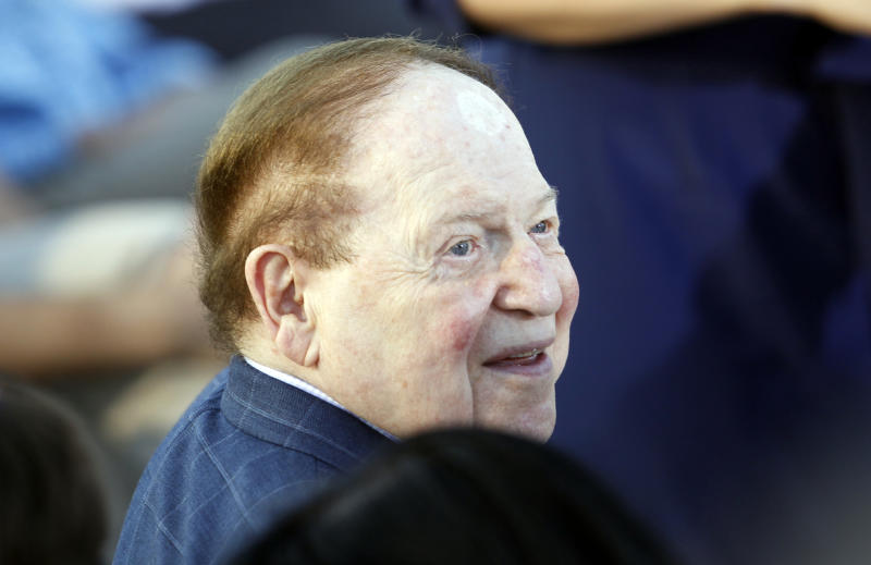American businessman Sheldon Adelson, who has said he will donate millions to Republican presidential candidate and former Massachusetts Gov. Mitt Romney's campaign, is seated before Romney delivers a speech in Jerusalem, Sunday, July 29, 2012. (AP Photo/Charles Dharapak)