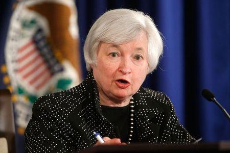 Yellen holds a news conference following two-day Federal Open Market Committee meeting at the Federal Reserve in Washington