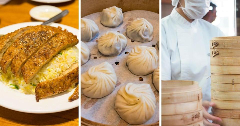 Din Tai Fung iconic dishes are featured in this collage photo. (Photo courtesy of Shutterstock)