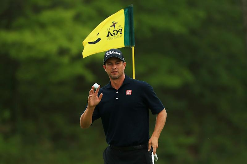 Australia's Adam Scott shares second place behind Brooks Koepka after 36 holes at the PGA Championship