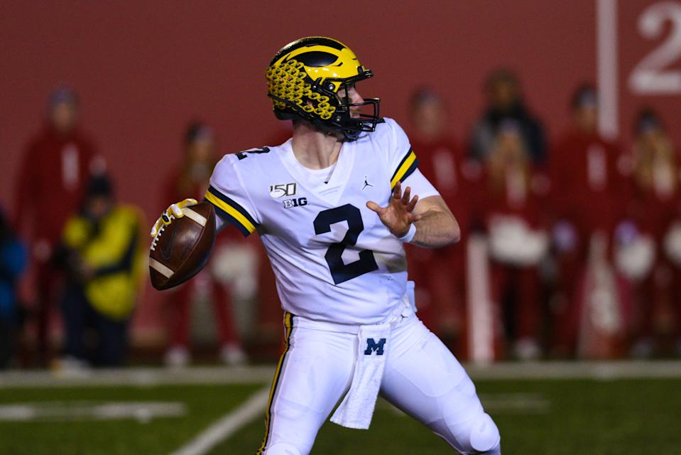 Michigan QB Shea Patterson stood tall against the Indiana Hoosiers on November 23, 2019, at Memorial Stadium in Bloomington, IN. (Photo by James Black/Icon Sportswire via Getty Images)