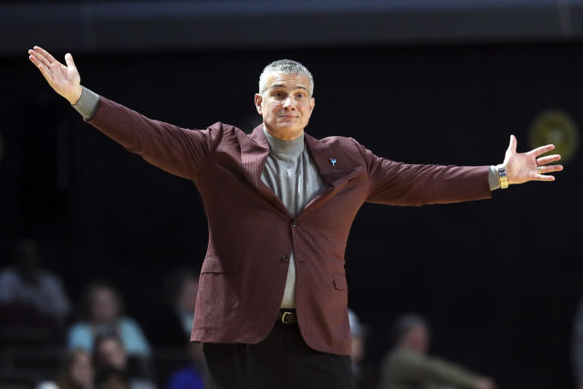 South Carolina head coach Frank Martin watches the action in the first half of an NCAA college basketball game against Vanderbilt Saturday, March 7, 2020, in Nashville, Tenn. (AP Photo/Mark Humphrey)