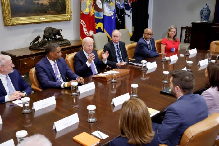 FILE PHOTO: U.S. President Biden holds a meeting on infrastructure with labor and business leaders at the White House in Washington