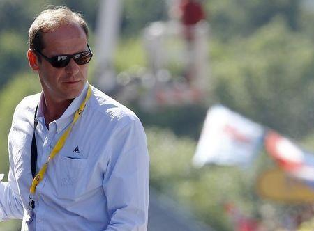 Tour de France director Christian Prudhomme looks on at the finish line after the 159,5 km (99 miles) third stage of the 102nd Tour de France cycling race from Anvers to Huy, Belgium, July 6, 2015. REUTERS/Stefano Rellandini