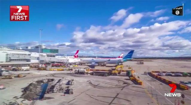 Melbourne Airport features in the IS video. Source: 7News