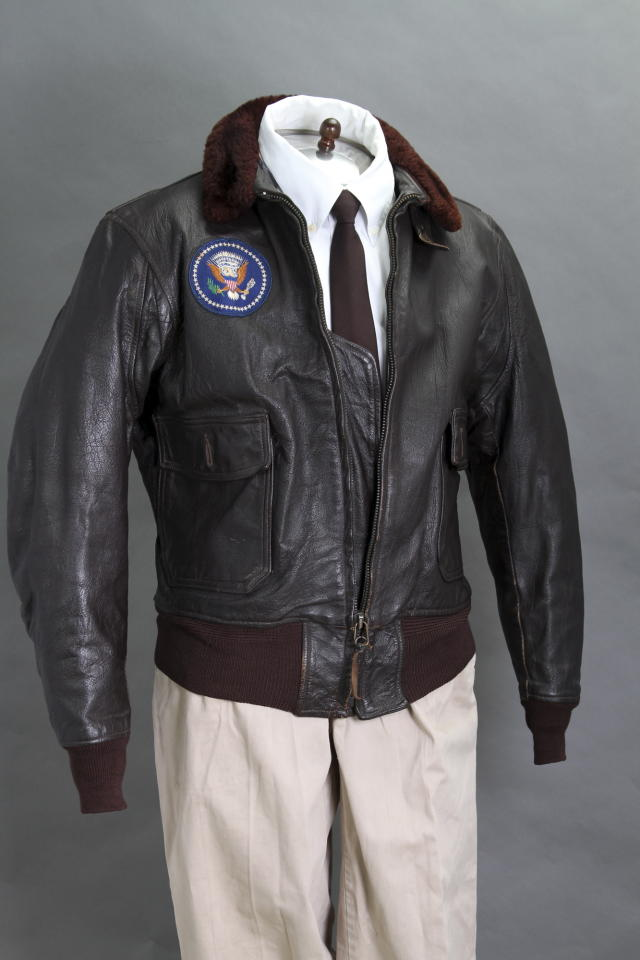 <p>This 2012 file photo provided by John McInnis Auctioneers shows late President John F. Kennedy's Air Force One leather bomber jacket, which sold for $570,000 at an auction on Sunday, Feb. 17, 2013. The jacket is part of a collection of John F. Kennedy memorabilia from the family of David Powers, a former special assistant to the president, that fetched almost $2 million at Sunday's auction at John McInnis Auctioneers in Amesbury, Mass. (AP Photo/John McInnis Auctioneers, Matthew Bourgeois, File)</p>