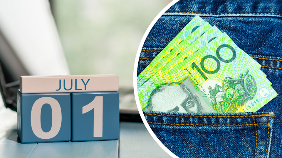 Image of 1 July date and $100 notes in jean pocket
