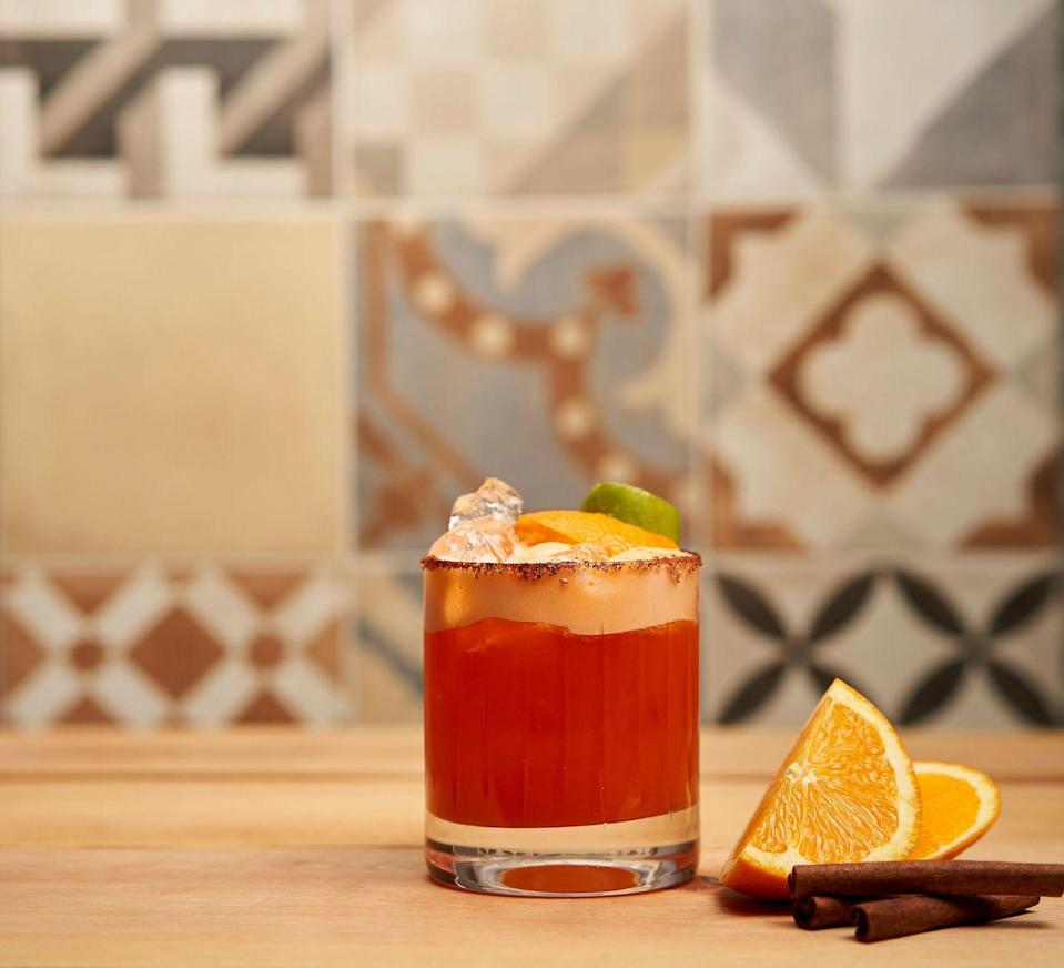 "<p><strong>Ingredients</strong></p><p>1.5 oz Cazadores Reposado tequila<br>1 oz Bols Pumpkin Spice liqueur<br>2 oz orange juice<br>.5 oz lemon juice<br>Dash of cinnamon powder</p><p><strong>Instructions</strong></p><p>In a cocktail shaker combine all the ingredients with ice, shake and serve over the rocks. Cinnamon sugar rim glass and orange peel for garnish.</p><p><em>B</em><em>y Manny Hinojosa</em></p><p><a class=""link rapid-noclick-resp"" href=""https://go.redirectingat.com?id=74968X1596630&url=https%3A%2F%2Fdrizly.com%2Fcazadores-tequila-reposado%2Fp2422&sref=https%3A%2F%2Fwww.townandcountrymag.com%2Fleisure%2Fdrinks%2Fg2839%2Fhalloween-drinks%2F"" rel=""nofollow noopener"" target=""_blank"" data-ylk=""slk:Buy Now"">Buy Now</a> Cazadores Reposado tequila, from $18.69</p>"