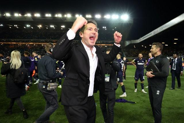 Lampard led the celebrations after Derby beat Leeds at Elland Road in the 2019 Championship play-off semi-finals