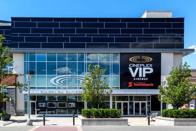 The entrance of Cineplex VIP Cinemas Don Mills in Toronto. The theatre chain is implementing physical distancing and health measures to reopen during the pandemic.