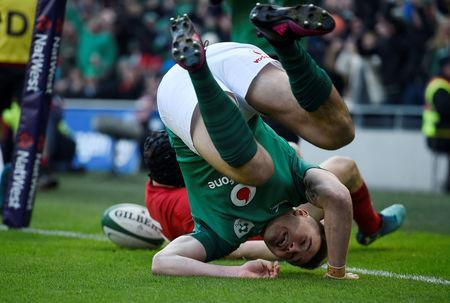 Rugby Union - Six Nations Championship - Ireland vs Wales - Aviva Stadium, Dublin, Republic of Ireland - February 24, 2018 IIreland's Jacob Stockdale scores their first try REUTERS/Clodagh Kilcoyne TPX IMAGES OF THE DAY