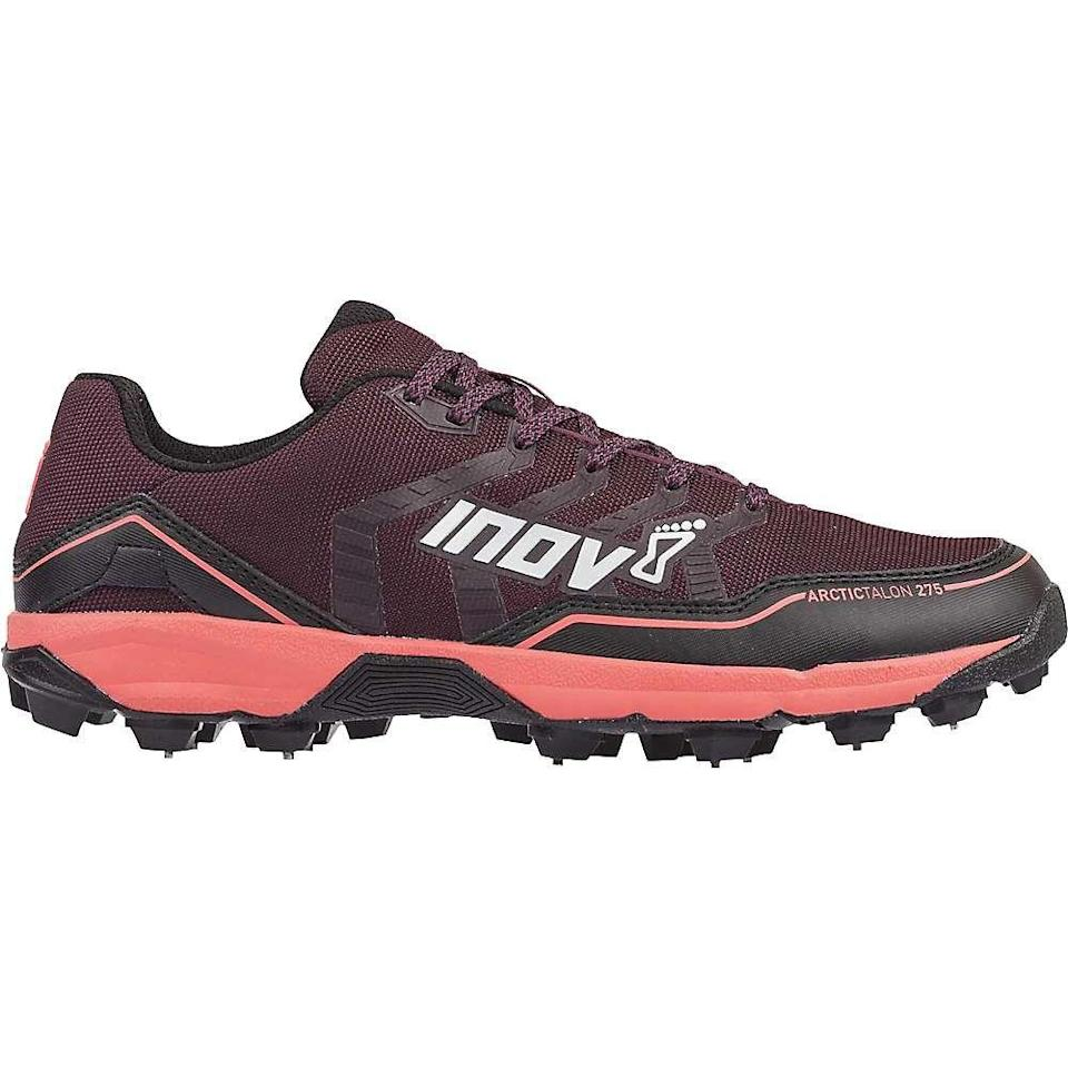 """<p><strong>inov-8</strong></p><p>skimresources.com</p><p><strong>$5.00</strong></p><p><a href=""""https://go.skimresources.com?id=74968X1576255&xs=1&url=https%3A%2F%2Fwww.walmart.com%2Fip%2FInov8-Women-s-Arctic-Talon-275-Shoe%2F922385107%3Fwmlspartner%3Dwlpa%26selectedSellerId%3D17461%26%26adid%3D22222222227315751081%26wl0%3D%26wl1%3Dg%26wl2%3Dc%26wl3%3D392439218158%26wl4%3Dpla-830049569216%26wl5%3D1022759%26wl6%3D%26wl7%3D%26wl8%3D%26wl9%3Dpla%26wl10%3D125216344%26wl11%3Donline%26wl12%3D922385107%26veh%3Dsem%26gclid%3DEAIaIQobChMIo-_vi7OA7AIVibLICh1vmw9LEAQYAiABEgLDA_D_BwE"""" rel=""""nofollow noopener"""" target=""""_blank"""" data-ylk=""""slk:Shop Now"""" class=""""link rapid-noclick-resp"""">Shop Now</a></p><p>See those little spikes sticking out of the soles? They guarantee maximum grip and speed when you're running across snowy and icy terrain. And right above them is a protective plate that keeps any surprises under the snow from poking up into the shoe. (Phew!) Just keep in mind, due tothose handy spikes, theses sneakers aren't meant for road runs.</p>"""