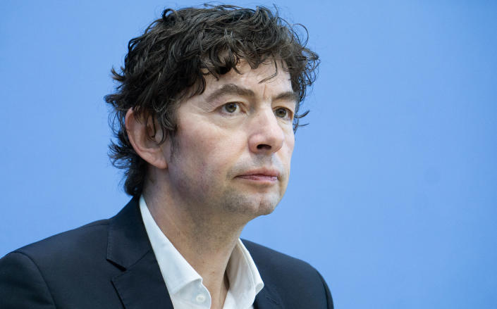 Christian Drosten, virologist of the Charite hospital, attends a press conference on the new coronavirus in Berlin, Germany, Monday, March 9, 2020. (AP Photo/Michael Sohn)