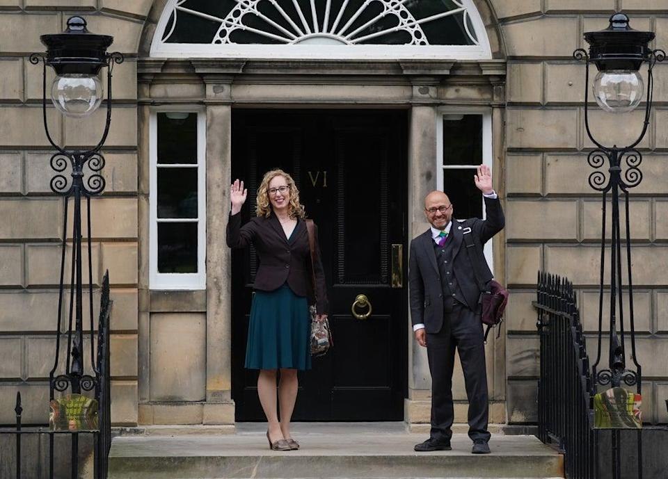 Scottish Green Party co-leaders Patrick Harvie and Lorna Slater arrive at Bute House on Friday as the deal was cemented (Andrew Milligan/PA) (PA Wire)