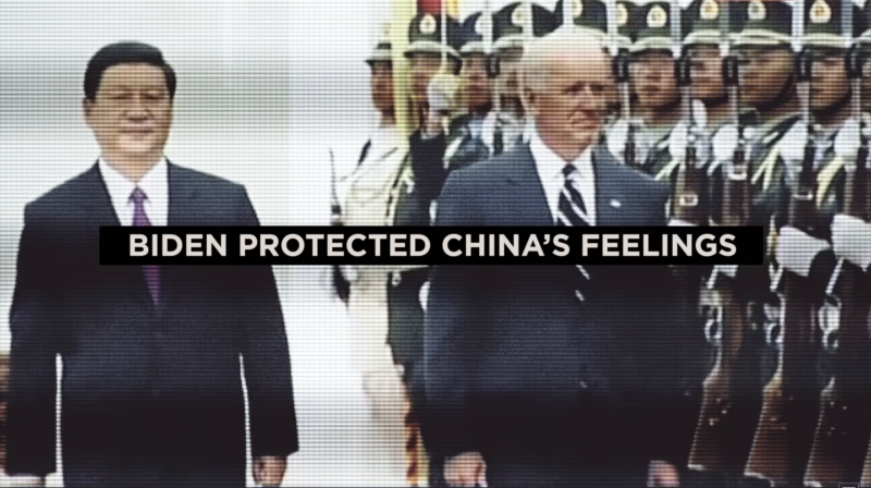 A screengrab from a recent Trumnp campaign advertisement attacking Joe Biden over his record on China.
