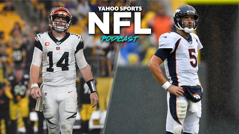 The Bengals and Broncos are both desperate and in full-on panic mode after 0-4 starts. (Photos by Justin Berl/Getty Images; Quinn Harris/Getty Images)