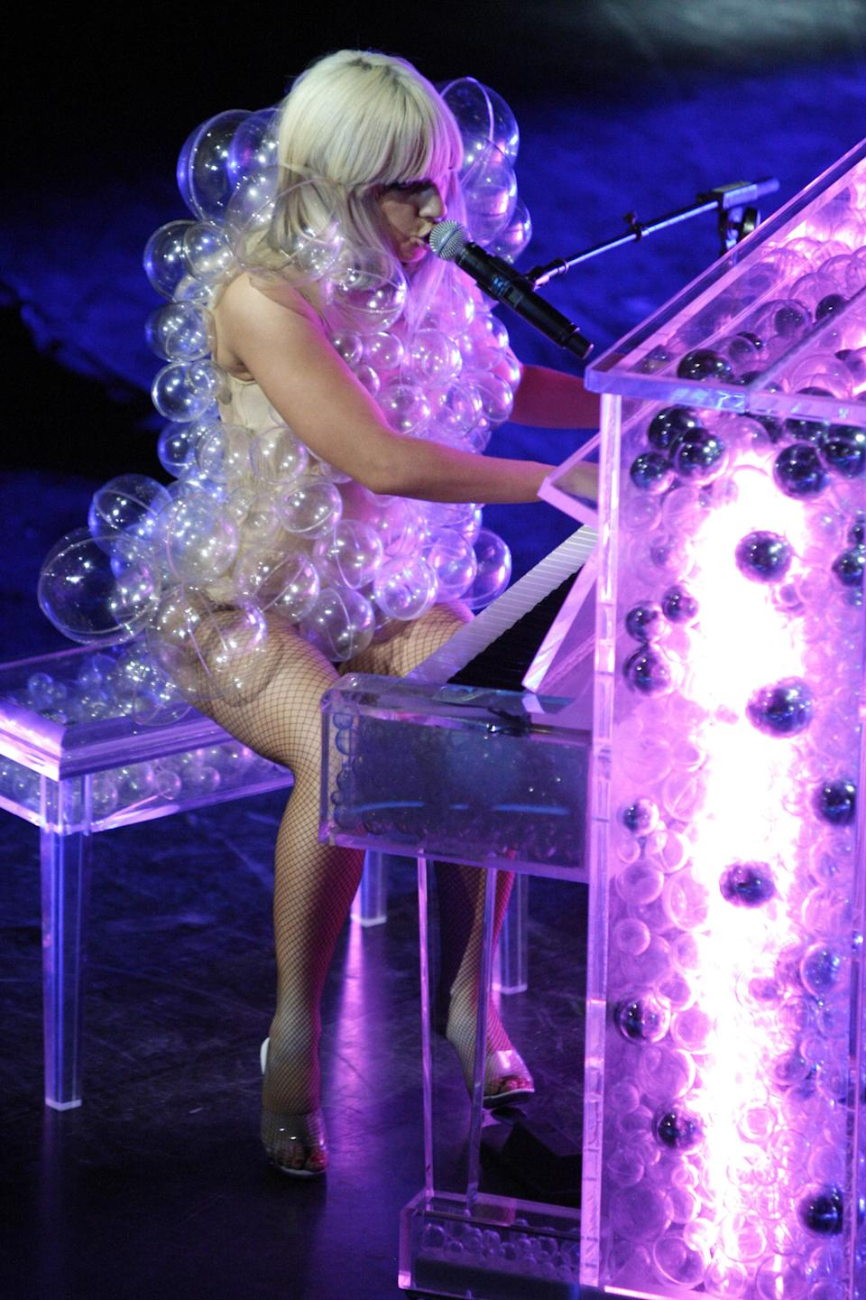 They should have called it the House of Bubbles when Gaga performed at the House of Blues in a bubble dress in 2009.