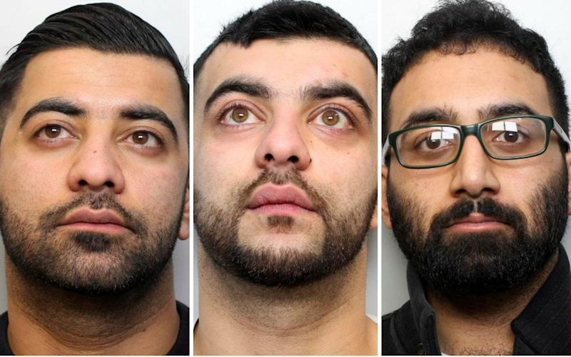 Muggers, from left, Qasim Hussain, Naheem Hussain and Hassan Mahmood came away with a Tupperware box and some sandwiches - SWNS
