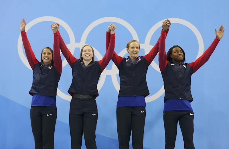 Kathleen Baker, Lilly King, Dana Vollmer and Simone Manuel won No. 1,000 for the U.S. (Reuters)
