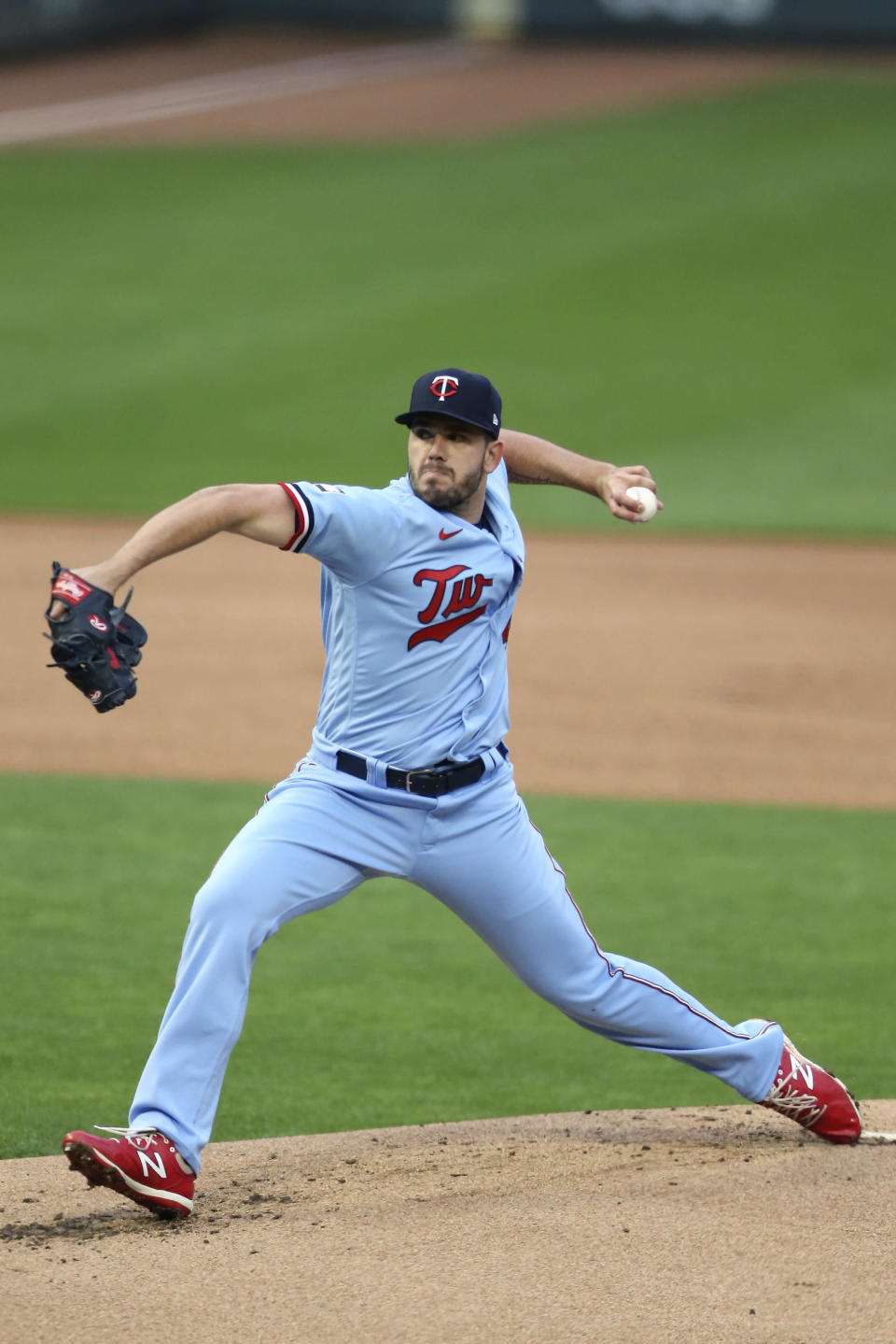 Minnesota Twins pitcher Lewis Thorpe throws to a Texas Rangers batter during the first inning of a baseball gameWednesday, May 5, 2021, in Minneapolis. (AP Photo/Stacy Bengs)
