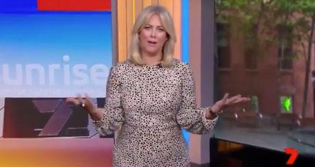 Sam Armytage wearing a polka dot dress on Sunrise on Channel 7.