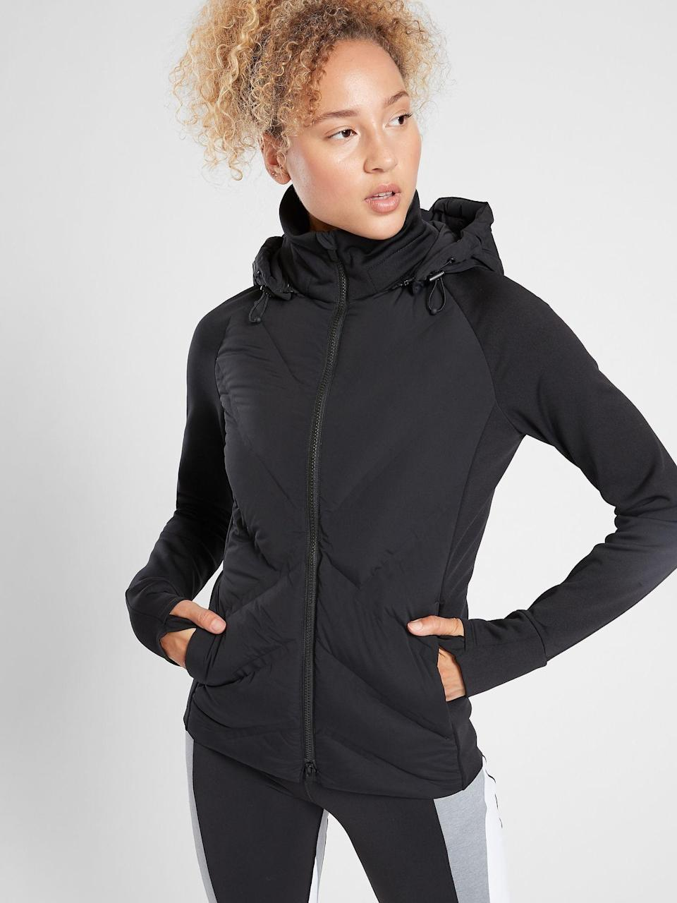 """<p><strong>Athleta</strong></p><p>athleta.gap.com</p><p><strong>$178.00</strong></p><p><a href=""""https://go.redirectingat.com?id=74968X1596630&url=https%3A%2F%2Fathleta.gap.com%2Fbrowse%2Fproduct.do%3Fpid%3D486238002%26vid%3D1%26tid%3Datpl000007%26kwid%3D1%26ap%3D7%26gclid%3DCjwKCAjwh7H7BRBBEiwAPXjadqaGnnhW10ubbbx_BLLmNWms9kurX67cm-bhIFb8csOhtFL1Akwl6BoCaigQAvD_BwE%26gclsrc%3Daw.ds%26ak_t%3D4BFDEC4B968C8E785114FA23440BDCDF173BFB5F44550000EBC46C5F70B85266%23pdp-page-content&sref=https%3A%2F%2Fwww.prevention.com%2Fbeauty%2Fstyle%2Fg29473259%2Fbest-winter-coats%2F"""" rel=""""nofollow noopener"""" target=""""_blank"""" data-ylk=""""slk:Shop Now"""" class=""""link rapid-noclick-resp"""">Shop Now</a></p><p>At a fantastic price, Athleta's Inlet Jacket is made for high-impact workouts in cold climates (meaning it can totally withstand early morning walks with the dog and school drop-off). The exterior is made of recycled nylon and spandex, while the<strong> interior boasts 800-fill FeatherDry down insulation</strong>. It's water-repellant, made to resist snags and tears, and features a high collar and removable hood.</p>"""
