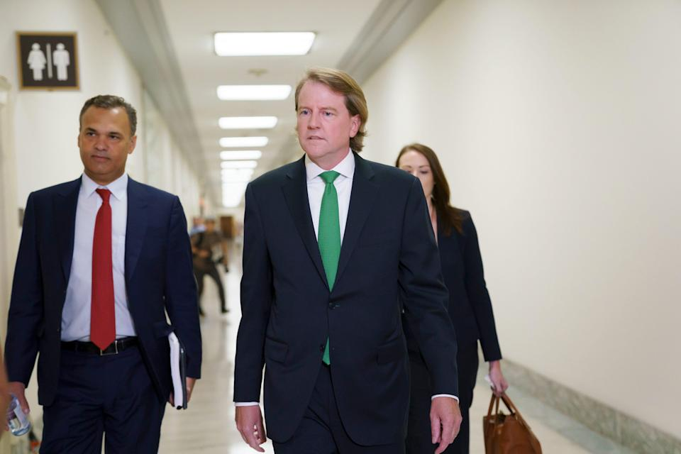 Former White House counsel Don McGahn arrives to answer questions behind closed doors from House Judiciary Committee investigators, two years after House Democrats originally sought his testimony as part of the probe into former President Donald Trump, on Capitol Hill in Washington on June 4, 2021.