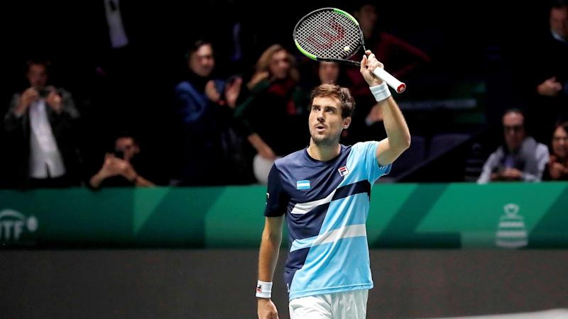 Argentina's Guido Pella hails his group stage win over Chile's Nicolas Jarry in Madrid