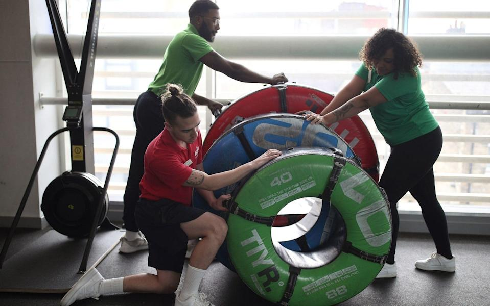 Staff at Clapham Leisure Centre prepare for the reopening of gyms from April 12 - Yui Mok/PA Wire