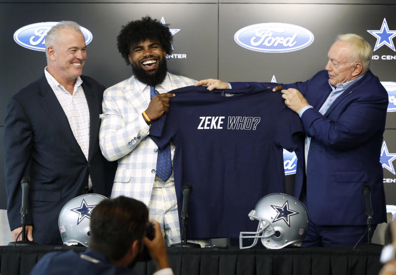 "It was all laughs and smiles between Ezekiel Elliott and Jerry Jones over ""Zeke who?"" on Thursday. (AP)"