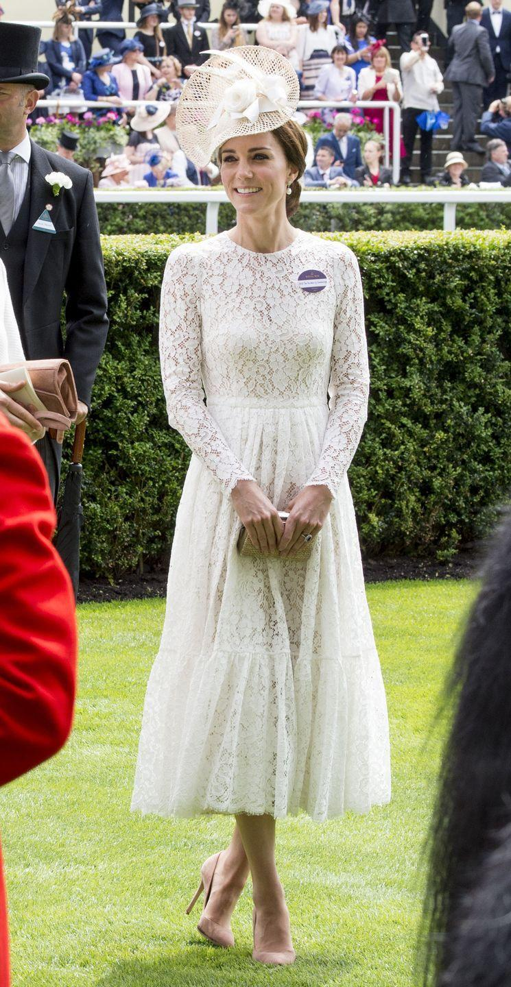 <p>The Duchess of Cambridge attends day two of the Royal Ascot in a dreamy Dolce & Gabbana lace dress and Jane Taylor hat. </p>