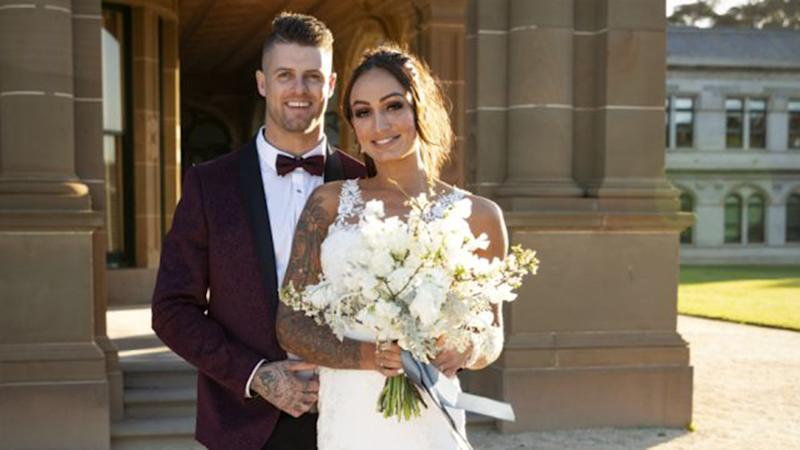 MAFS star Hayley Vernon with 'groom' David on Married at First Sight 2020