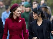 "<p>Meghan and Kate share a smile on the walk in to St. Mary Magdalene church. <a href=""https://www.townandcountrymag.com/society/tradition/g25577594/royal-family-christmas-church-photos-2018/"" rel=""nofollow noopener"" target=""_blank"" data-ylk=""slk:See more photos from this year's celebration here."" class=""link rapid-noclick-resp"">See more photos from this year's celebration here.</a></p>"