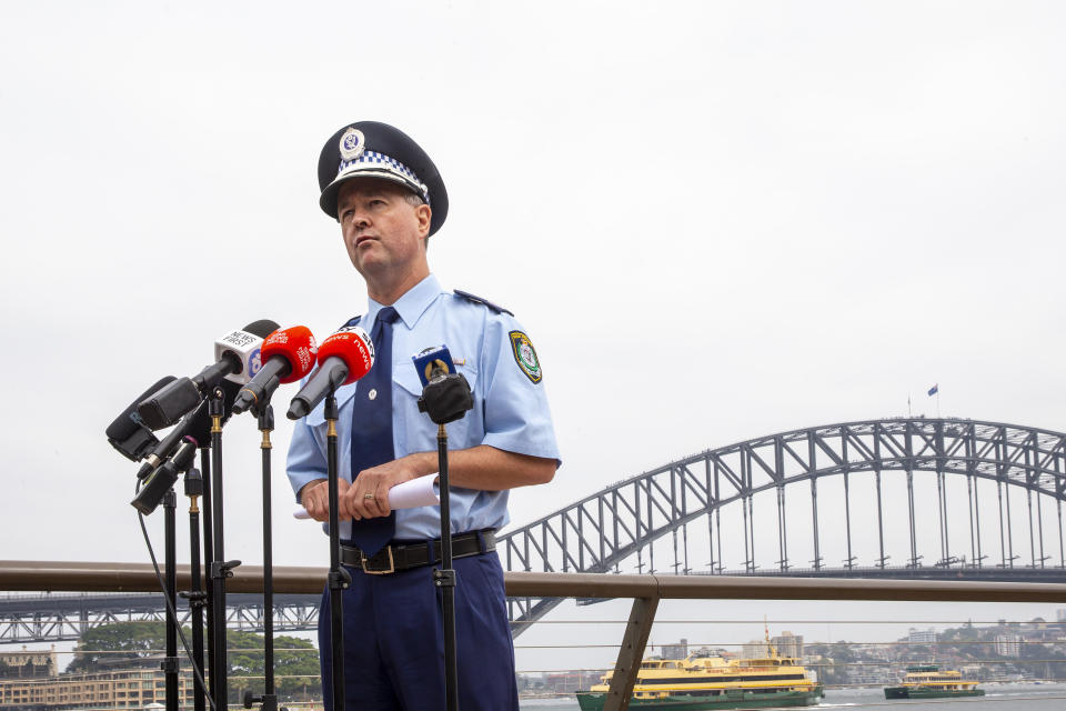 SYDNEY, AUSTRALIA - JANUARY 01: NSW Police Assistant Commissioner, Mick Willing speaks during a press conference at the Sydney Opera House forecourt on January 01, 2020 in Sydney, Australia. There had been calls to cancel the annual New Year's Eve fireworks display due to ongoing bushfires across NSW, but event organisers went ahead following approval from the Rural Fire Service commissioner Shane Fitzsimmons.  (Photo by Jenny Evans/Getty Images)