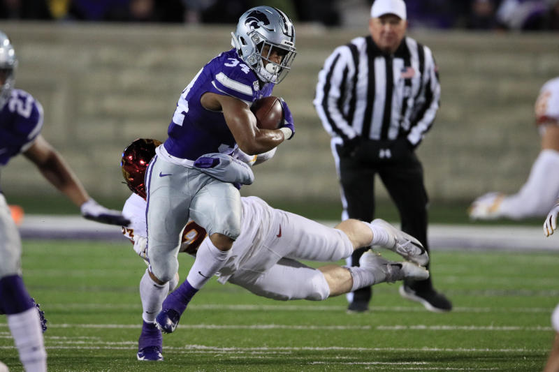 Kansas State running back James Gilbert leads the team in rushing yards and rushing touchdowns. (AP Photo/Orlin Wagner)