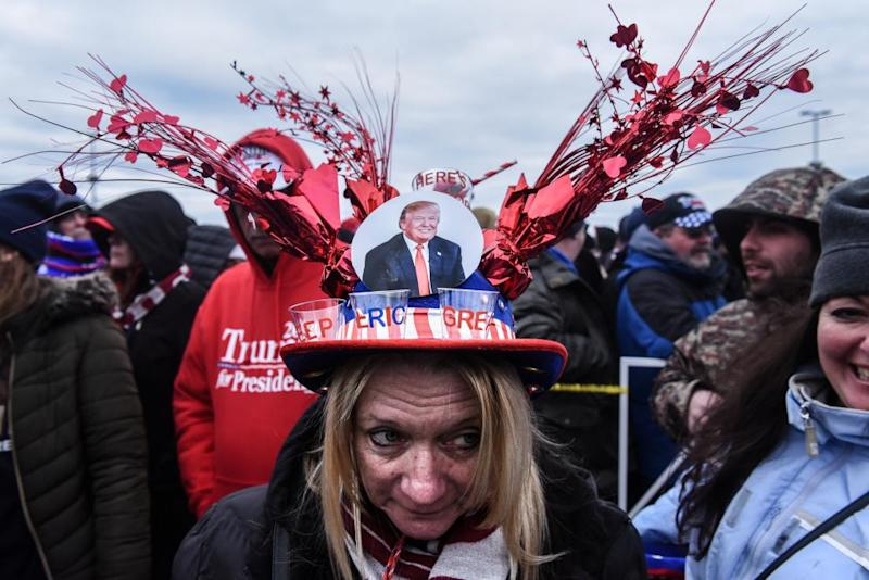 A Trump supporter outside the campaign rally in Wildwood, New Jersey.