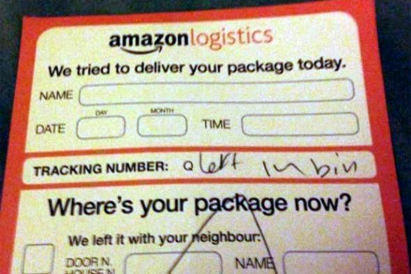 Amazon delivery in the bin