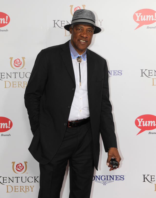 Julius Eriving is photographed at the 140th Kentucky Derby Saturday, May 3, 2014 in Louisville Ky. (Photo by Joe Imel/Invision/AP)