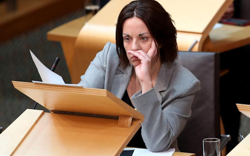 Scottish Labour leader Kezia Dugdale, in the main chamber of the Scottish Parliament - Credit: PA